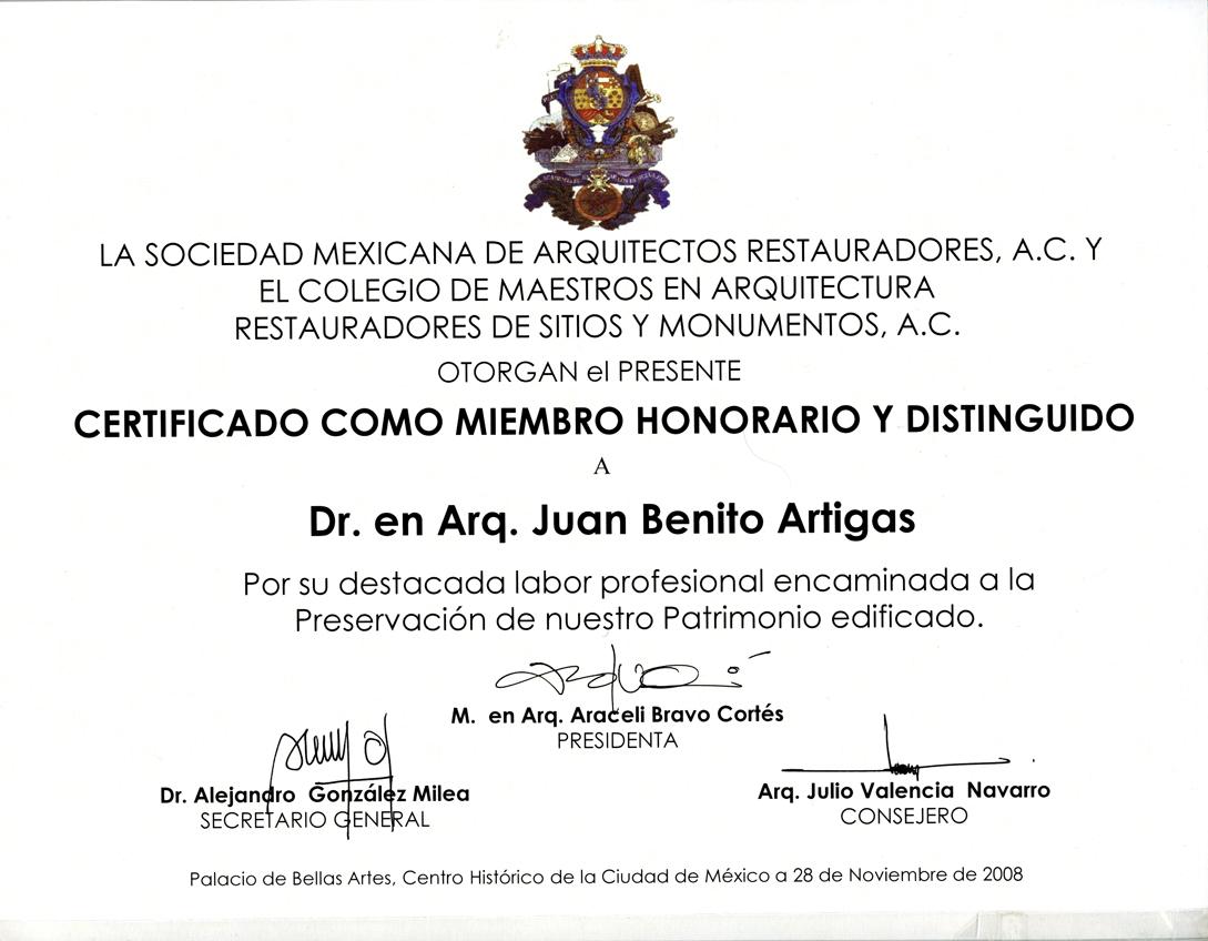 Reconocimiento por la sociedad mexicana de arquitectos restauradores y el colegio de maestros en - Sociedad de arquitectos ...